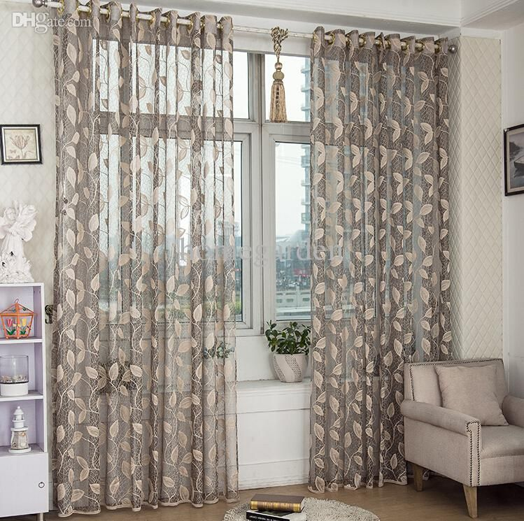 Wholesale Leaves Design Sheer Curtain Panel Lace Fabric Curtain