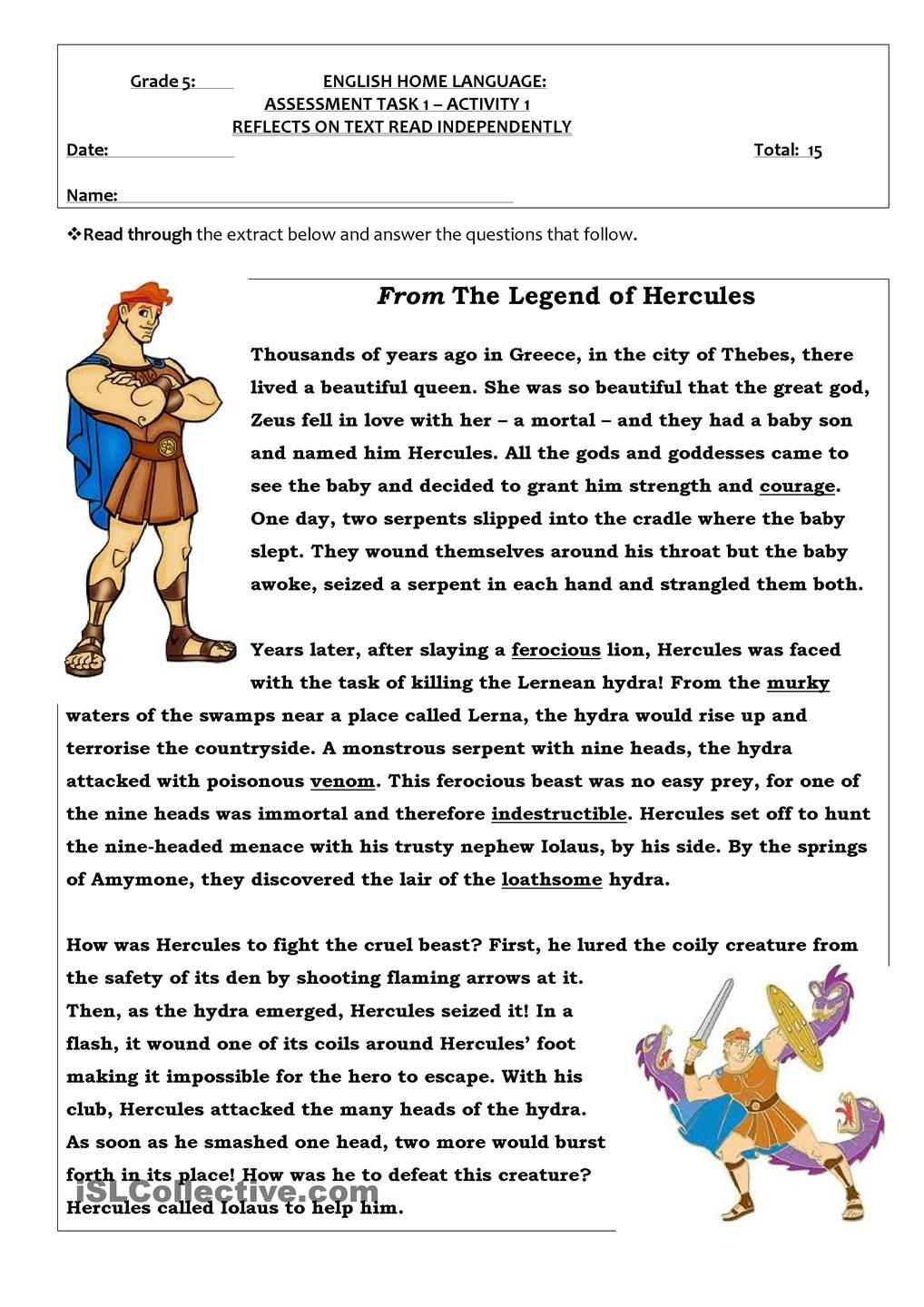Hercules Reading Comprehension English Reading Reading Comprehension Activities [ 1440 x 1018 Pixel ]