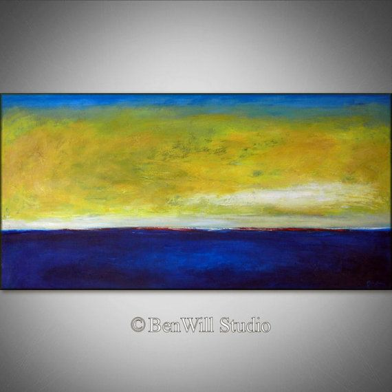 ORIGINAL Abstract Painting Blue Yellow LARGE Modern Wall Art Oil ...