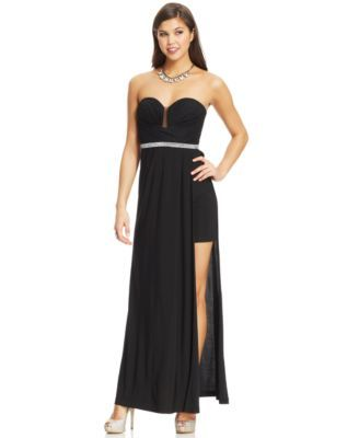 Hailey Logan by Adrianna Papell Juniors\' Strapless Jewel-Trim Gown ...