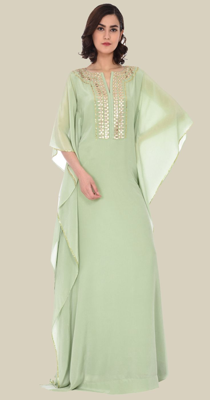 15752cc789c Sage Green Gota Patti with Sequin and Mirror Work Kaftan Gown in ...