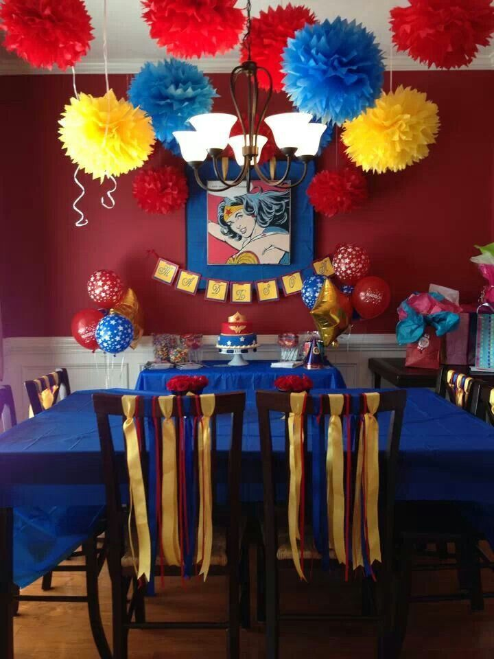 Pin By Maria Carmen Segura Rosas On Wonder Woman Woman Birthday Party Wonder Woman Birthday Party Wonder Woman Birthday