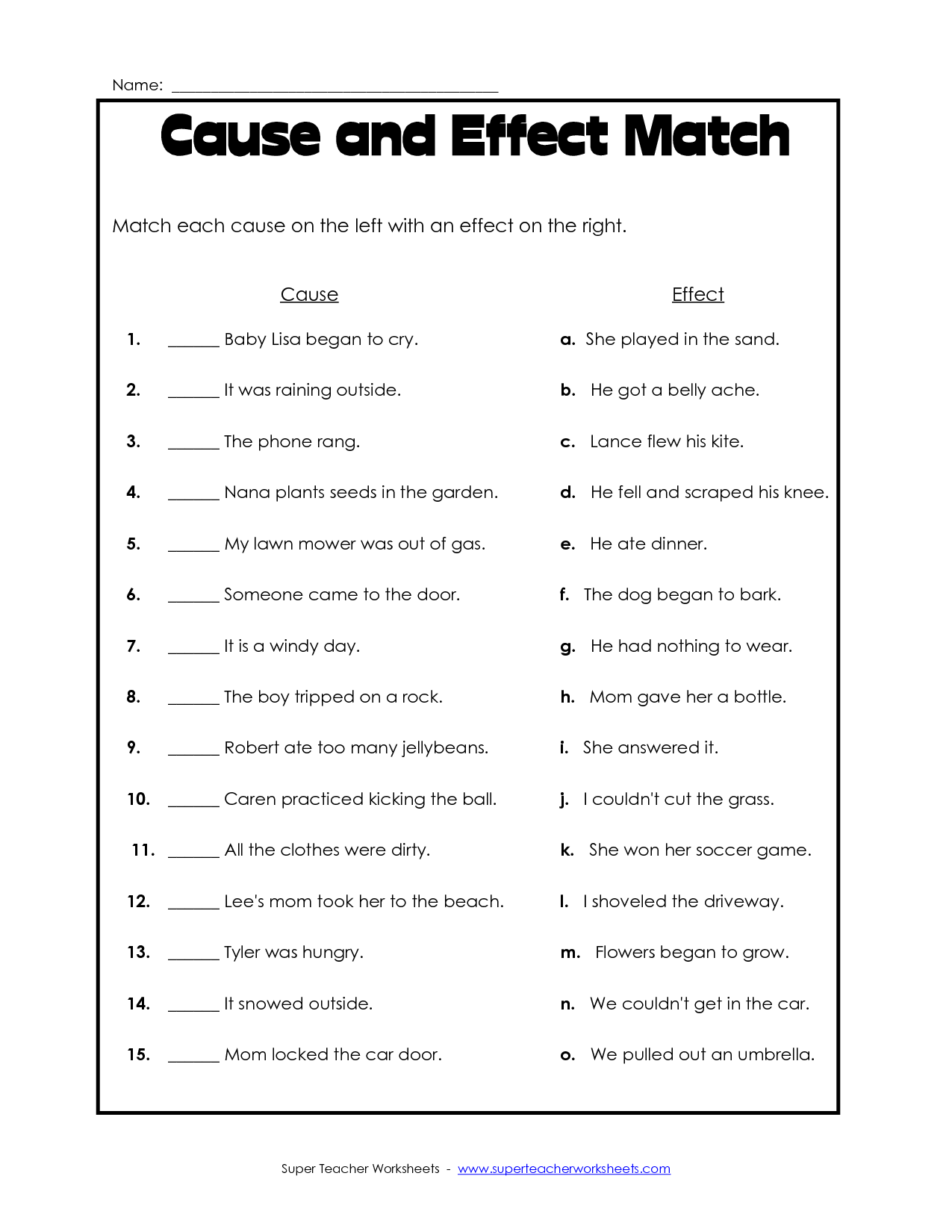Worksheets  Cause and Effect Worksheet - modify to become observation