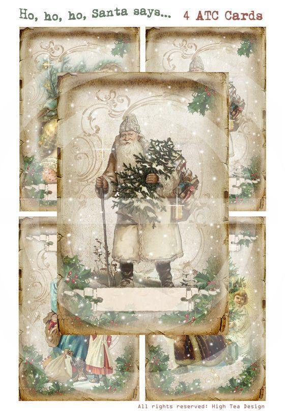 HO HO HO Santa sagt  Karten Set von 4 großen Atc  von HighTeaDesign