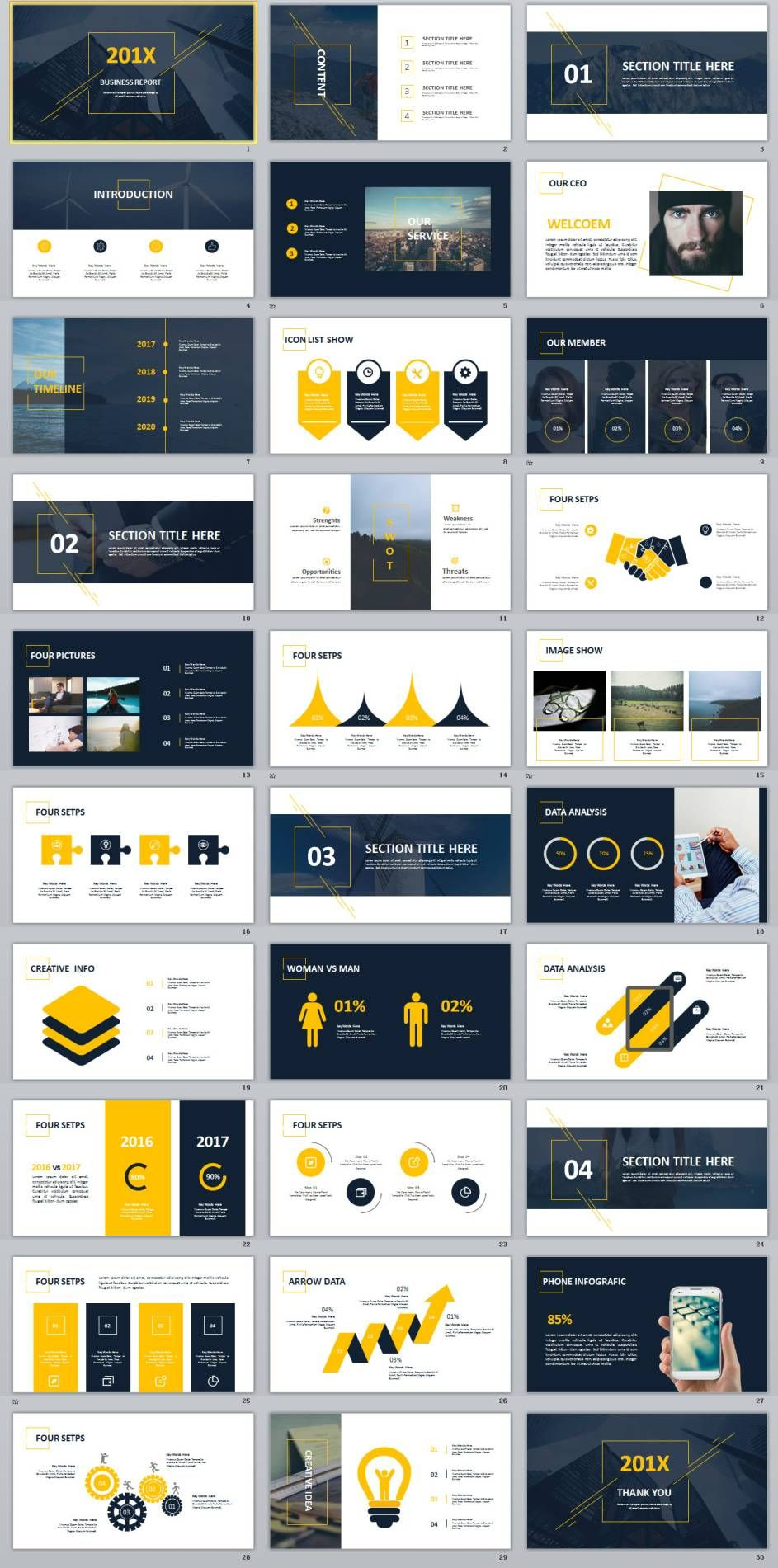 30 creative charts swot report powerpoint template business