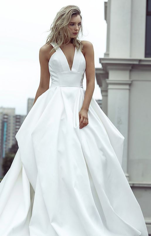 White Silk Empire Waist Ballgown Wedding Dress | Say Yes To The ...