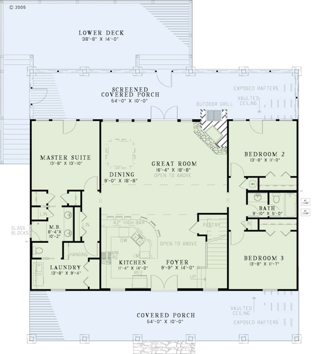 Country farmhouse main floor plan plan for 9 ft wide living room