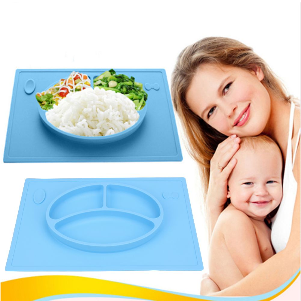Baby Kids Children Tableware Meal Dinner Plates Dinnerware Integrated  Sub Grid Silicone Food Dishes Plate Non Slip Placemat
