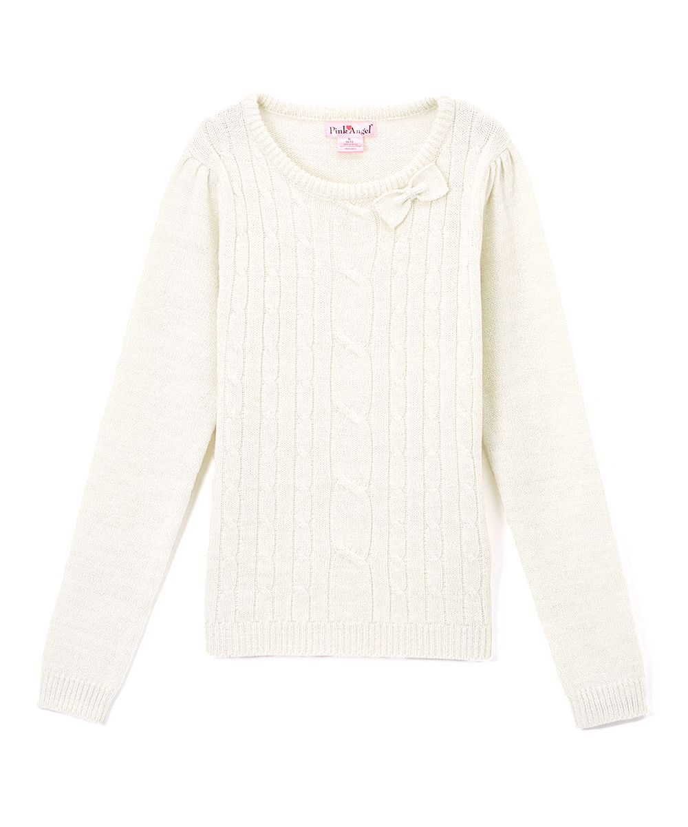 Off-White Metallic Cable-Knit Bow Sweater - Infant | Products