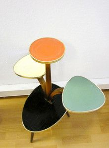 German Mid Century Kidney Shaped Plant Stand Made Of Wood And