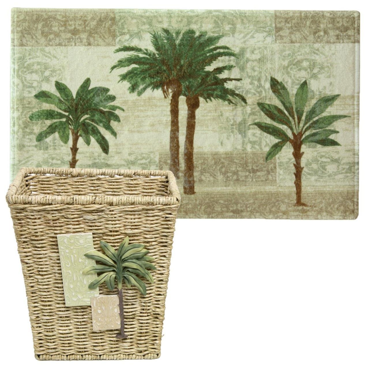 Palm Tree Bath Rug Set Large Bathroom Rugs Luau Decorations Palm Tree Flowers