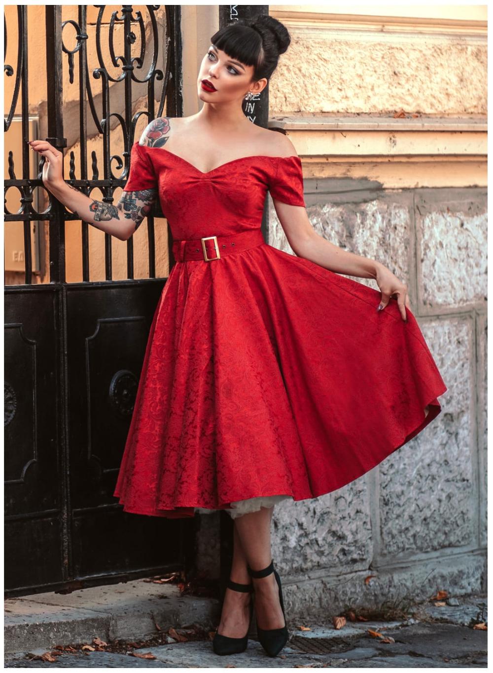 Dee Dee Red Satin Jacquard Full Circle Dress British Retro Circle Dress Dresses Full Circle Skirts [ 1363 x 1000 Pixel ]