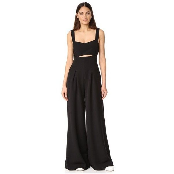 KENDALL + KYLIE Bralette Jumpsuit ($295) ❤ liked on Polyvore featuring jumpsuits, black, jump suit, wide leg jumpsuit and cut-out jumpsuits