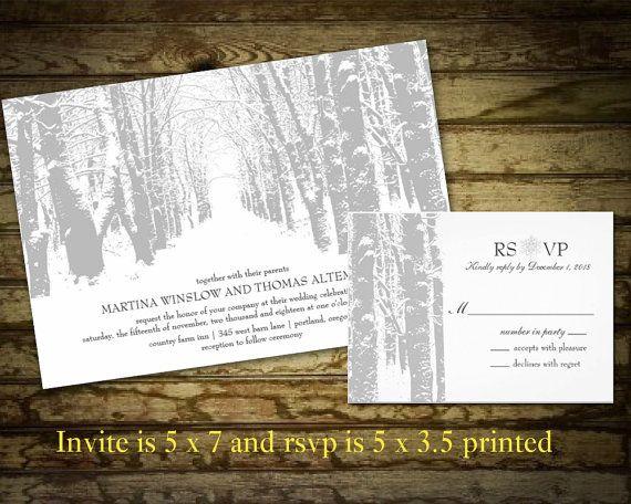 Winter Wedding Invitations | Tree silhouette | Winter Landscape ...