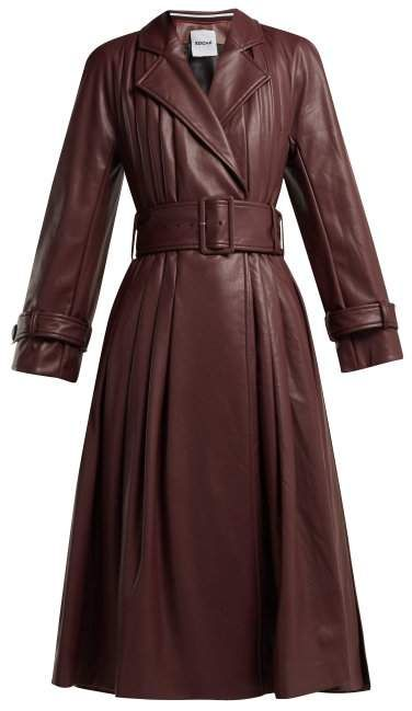 c456e9565b76 Koché - Belted Faux Leather Trench Coat - Womens - Burgundy