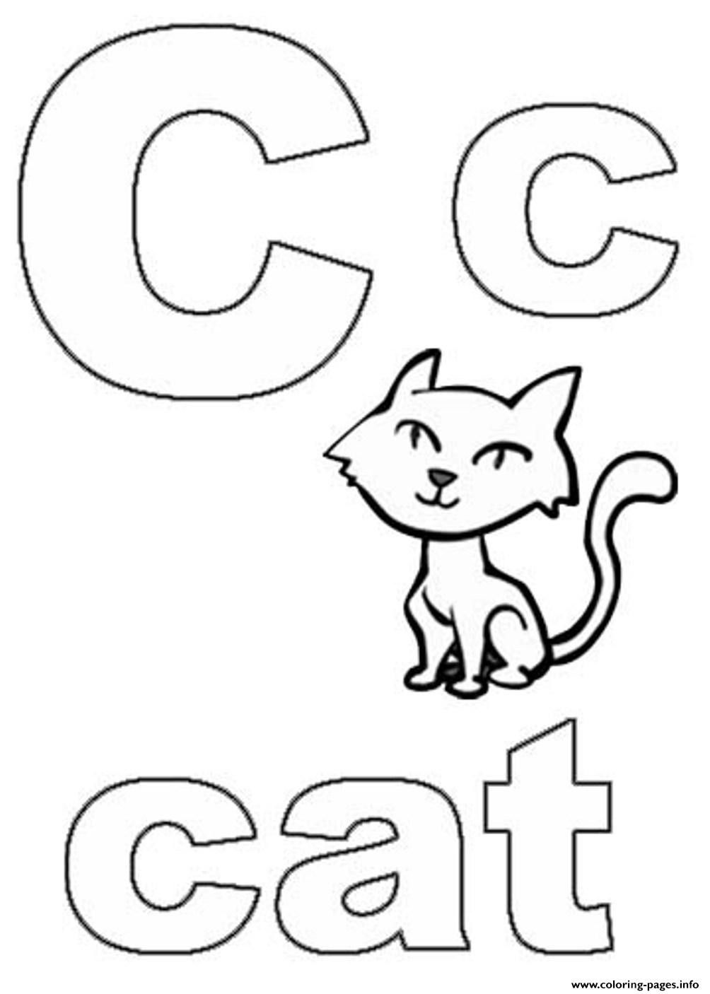 C is for Cat Coloring Page - youngandtae.com  Abc coloring pages