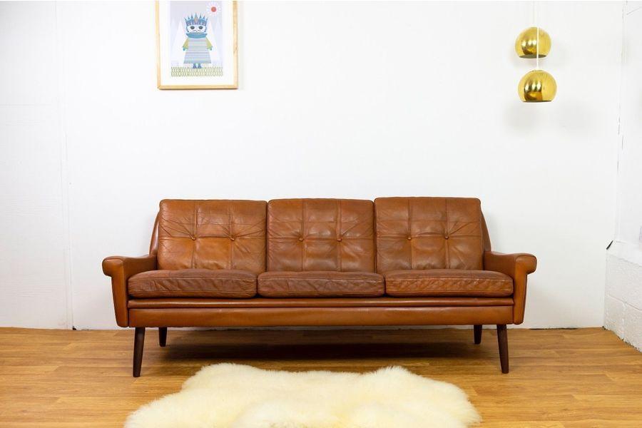 Mid Century Danish Cognac Leather Svend Skipper 3 Seater Sofa 1960s ...