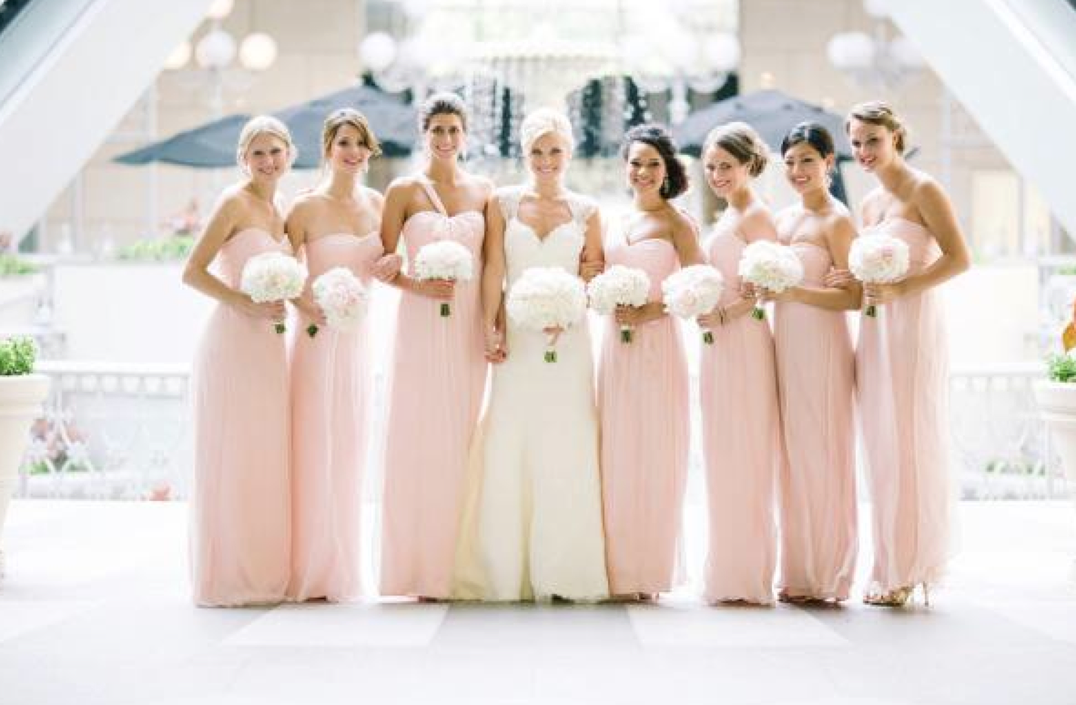 Amsale blush crinkle chiffon bridesmaid dresses pinterest dallas wedding at the rosewood crescent from jess barfield photography ombrellifo Image collections