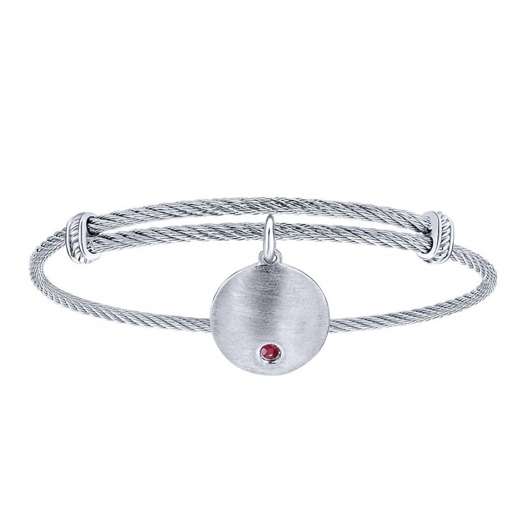 Brushed silver charm with the July birthstone, ruby, as an accent.  And it's all tied together with a roped silver and stainless steel bangle that is adjustable for the perfect fit.