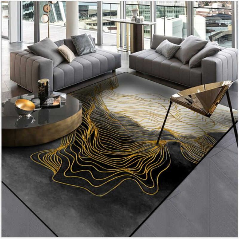 Bubble Kiss Customized Large Soft Area Rug Abstract Chinese Black Gold Line Carpet Bedroom Rug Living Room Modern Home Decor Aliexpress In 2020 Black Carpet Bedroom Bedroom Carpet Bedroom Flooring