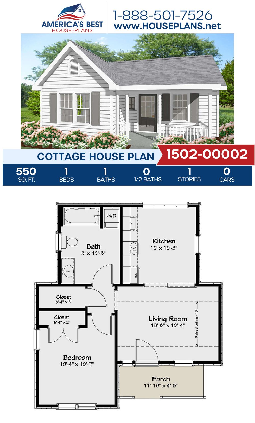 House Plan 1502 00002 Cottage Plan 550 Square Feet 1 Bedroom 1 Bathroom Guest House Plans Small House Plans Cottage Plan