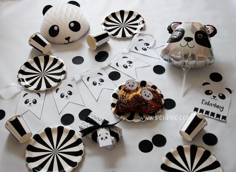 Printables | Benbino | Vorlagen | Panda | Kindergeburtstag | Geburtstag |  Party | Mottoparty |