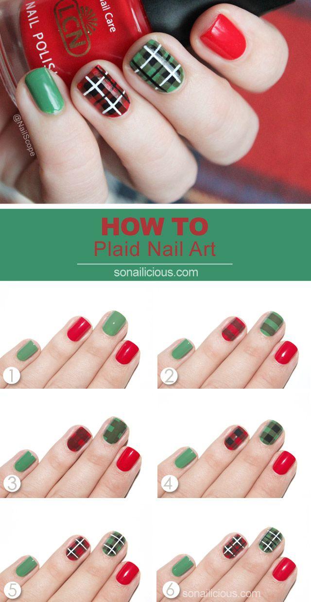 plaid nail art tutorial Nail Pinterest Plaid nails Art