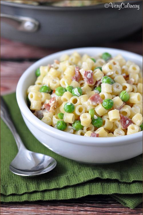 Creamy Pasta With Bacon And Peas Recipe With Images Creamy