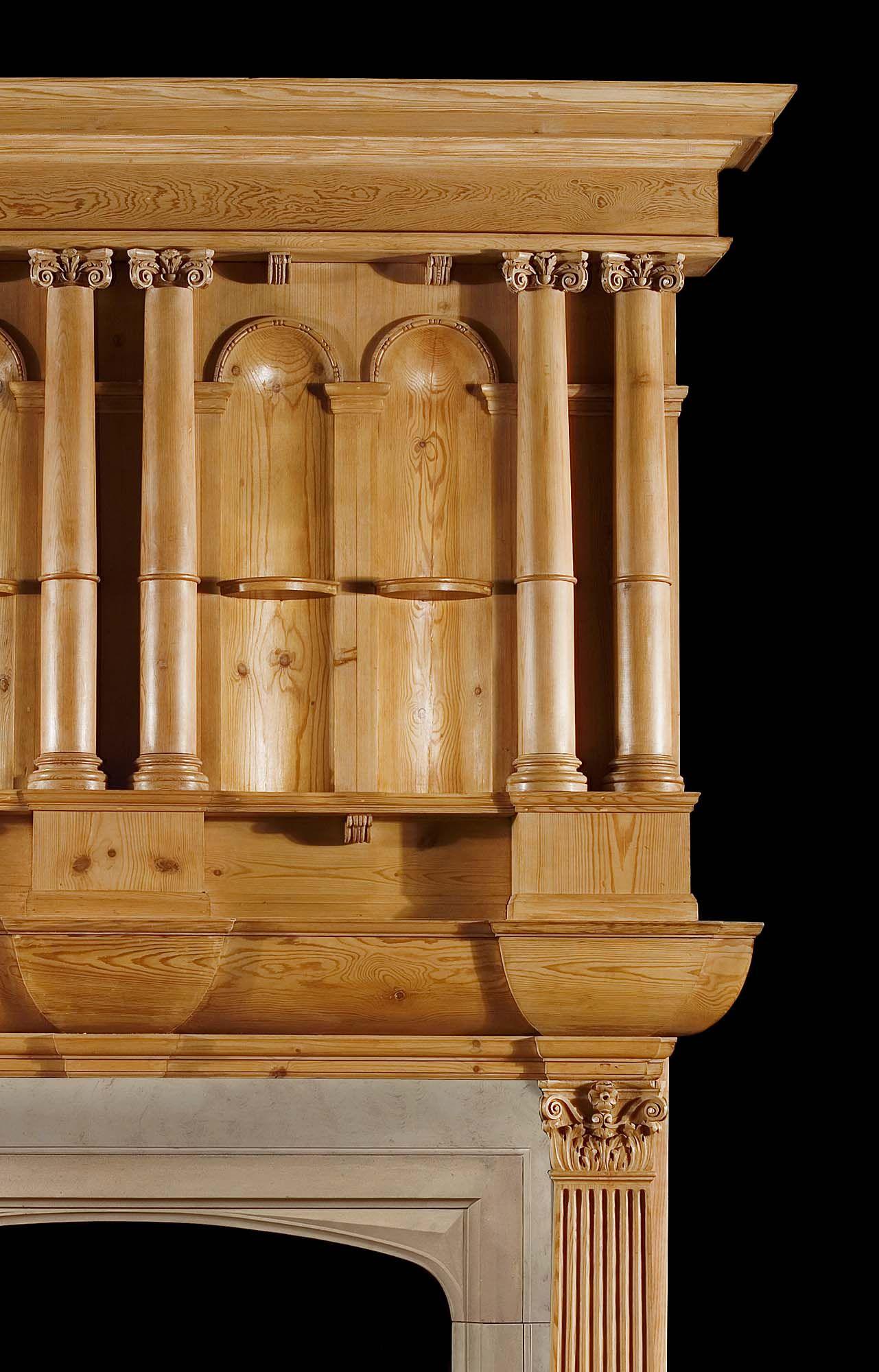 A Gothic Revival Antique Pine Chimneypiece Камин