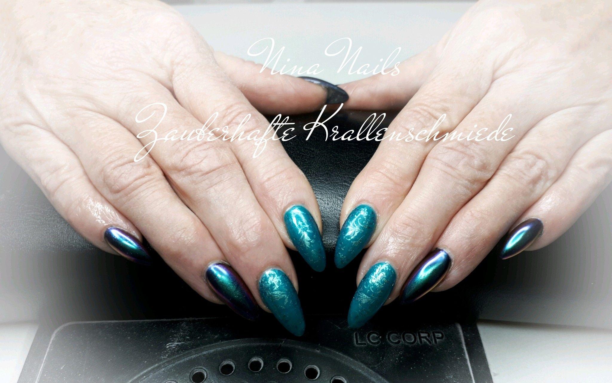 Petrol Flipflop Pigment und Moyra Stamping | Nina Nails ...