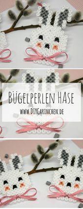 DIY Hasen aus Bügelperlen selber machen  Geschenkidee zu Ostern – #aus #Bügelp…