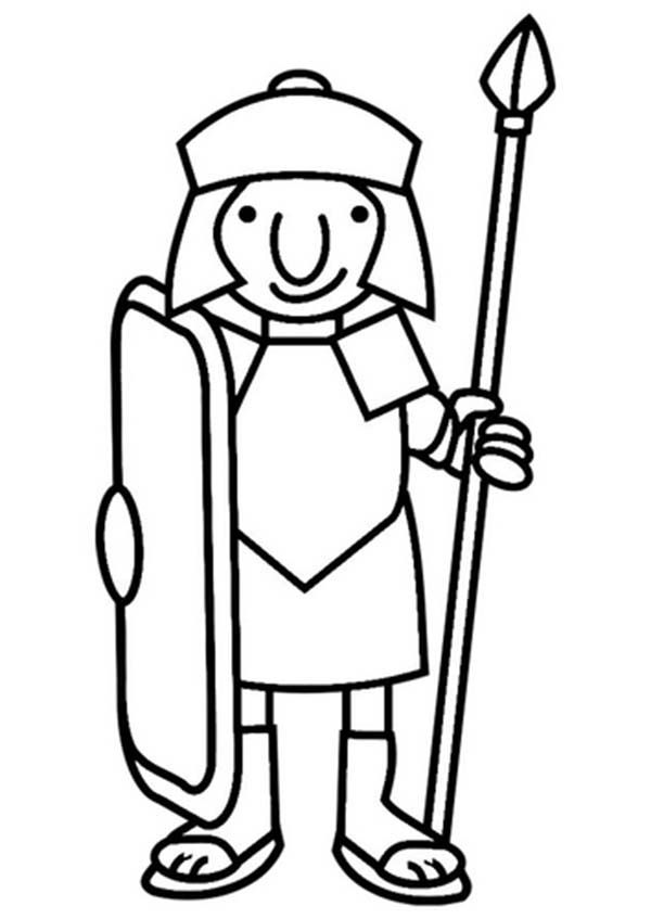 A Cartoon Drawing of Roman Soldier from Ancient Rome