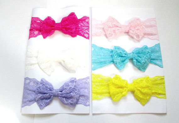 Set of 6 Bow lace headband Baby Headbands Lace by colorsplashh