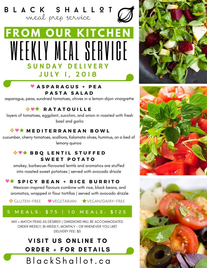 Black Shallots Plant Based Weekly Meal Service Menu July 1