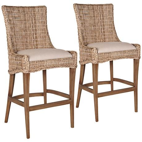 Greco Gray Wicker And Mahogany Barstool Set Of 2 1n624 Lamps Plus In 2021 Counter Stools Bar Stools Island Chairs Wicker counter height stools