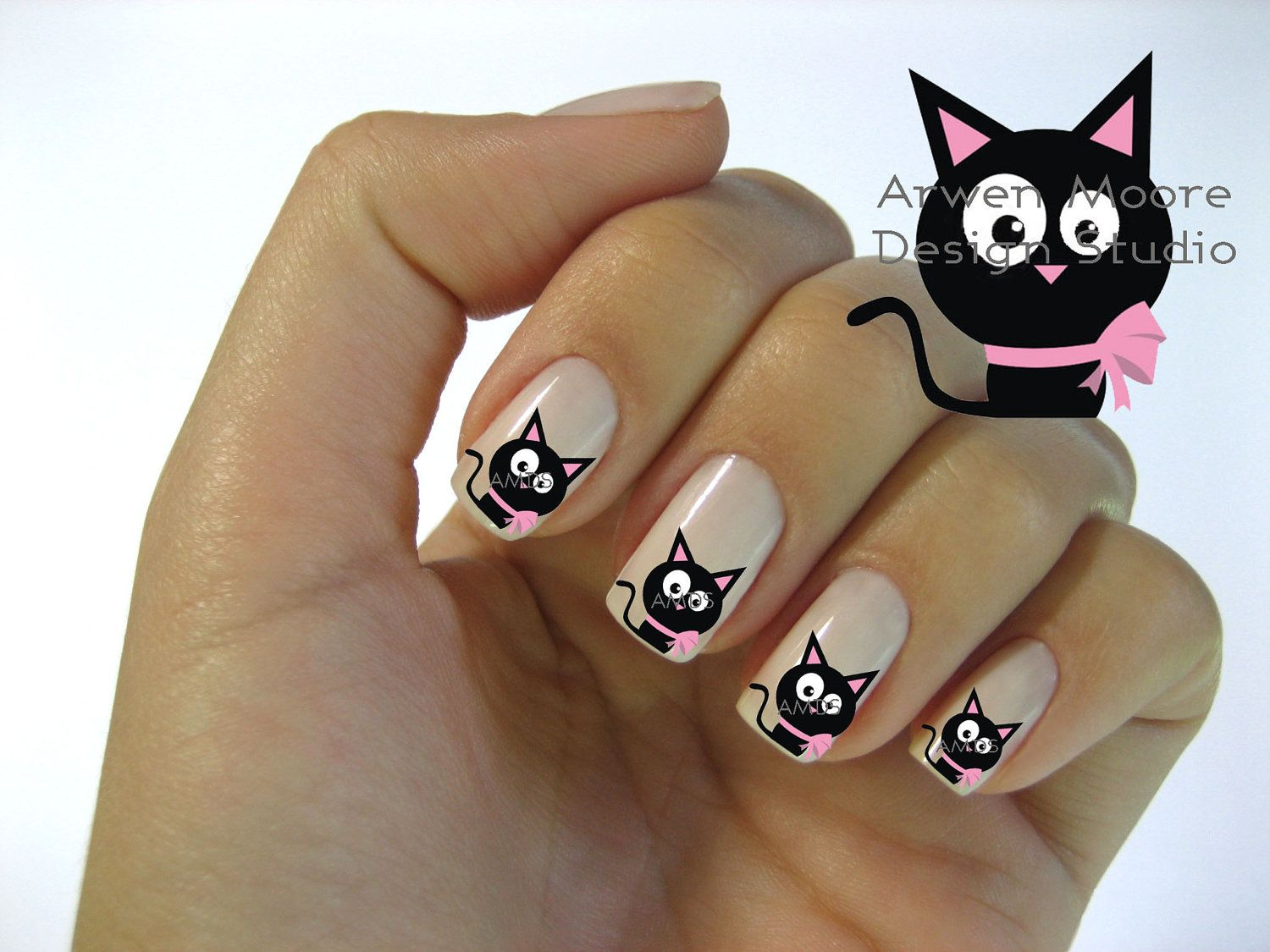 Very Chic Mod Black Cat Pink Gift Bow Nail Art Waterslide Water Decals  Miniature - cat - Very Chic Mod Black Cat Pink Gift Bow Nail Art Waterslide Water