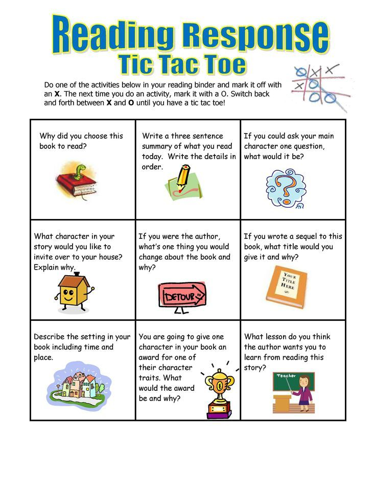 Reading Response Tic Tac Toe, easy to customize for your own class - sample tic tac toe template