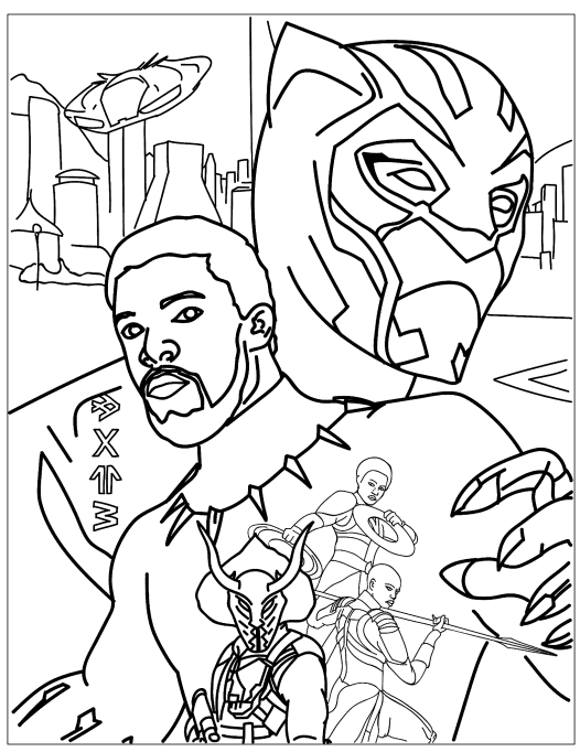 раскраски супергерои марвел черная пантера דפי צביעה