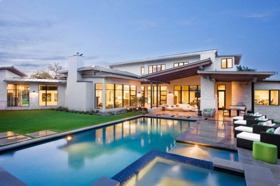 Architecture: luxury house design with outdoor swimming pool with