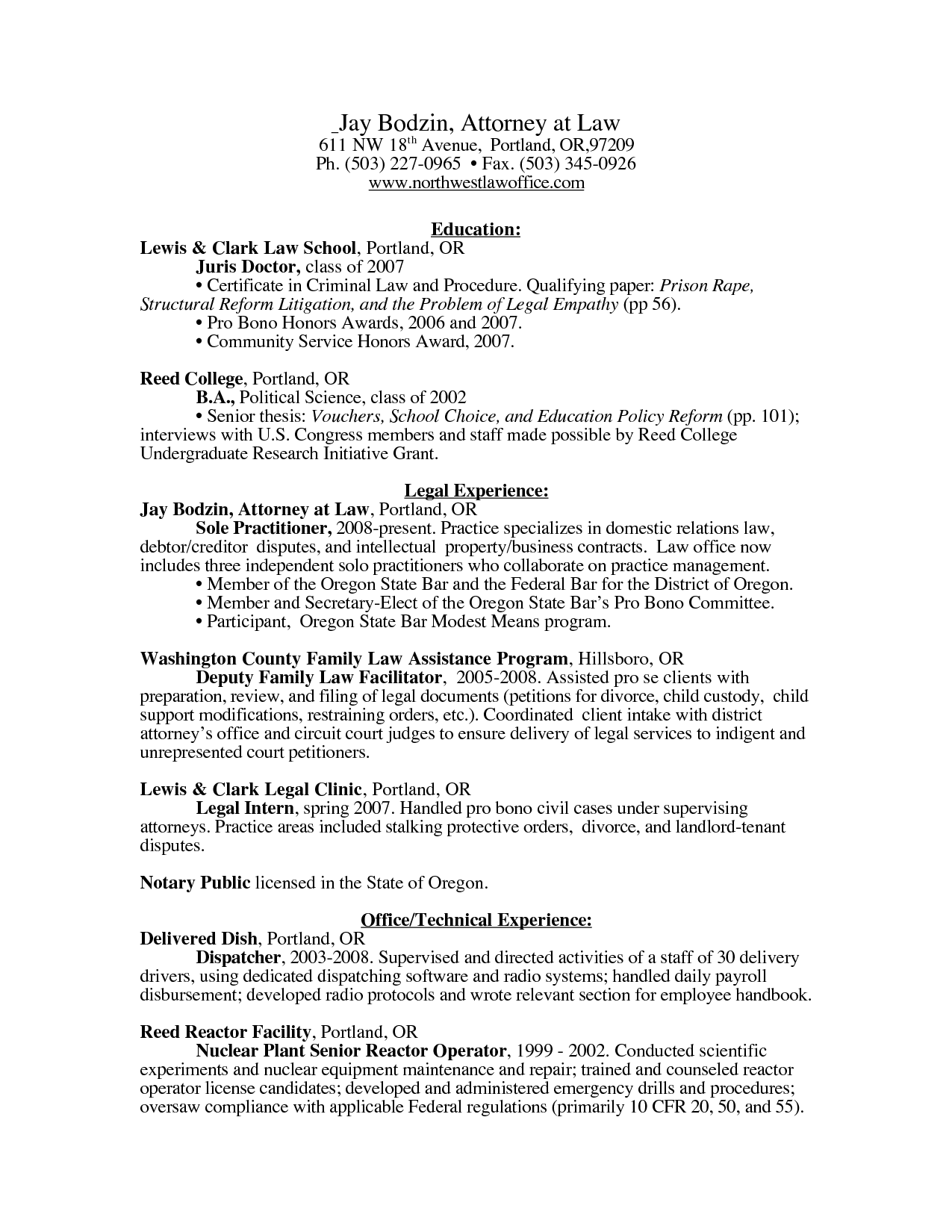 Physician Resume Juris Doctor Resume  Northwest Law Office  Jay Bodzin  Resume