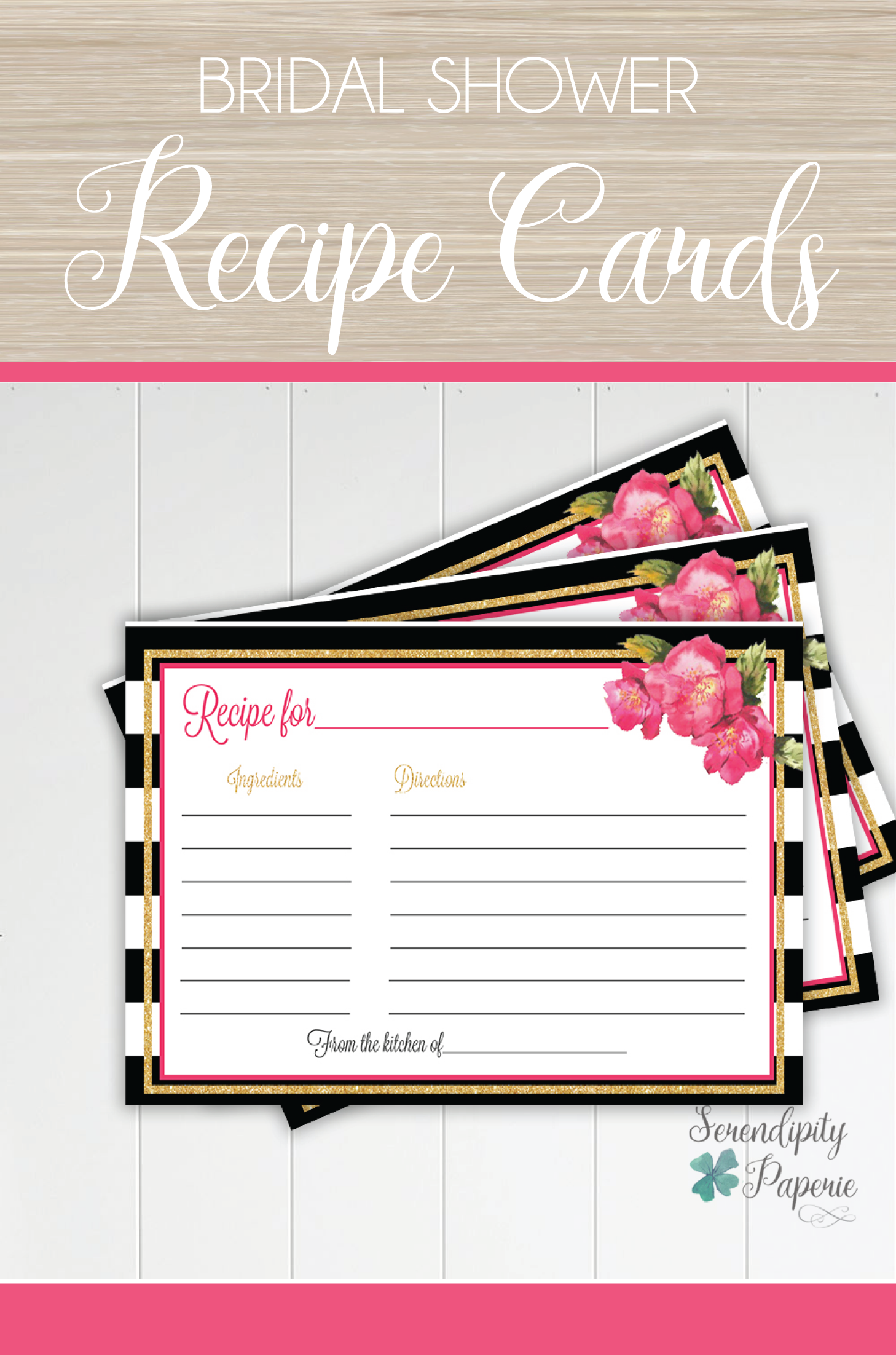 Matching recipe cards for bridal shower favors only at Serendipity ...