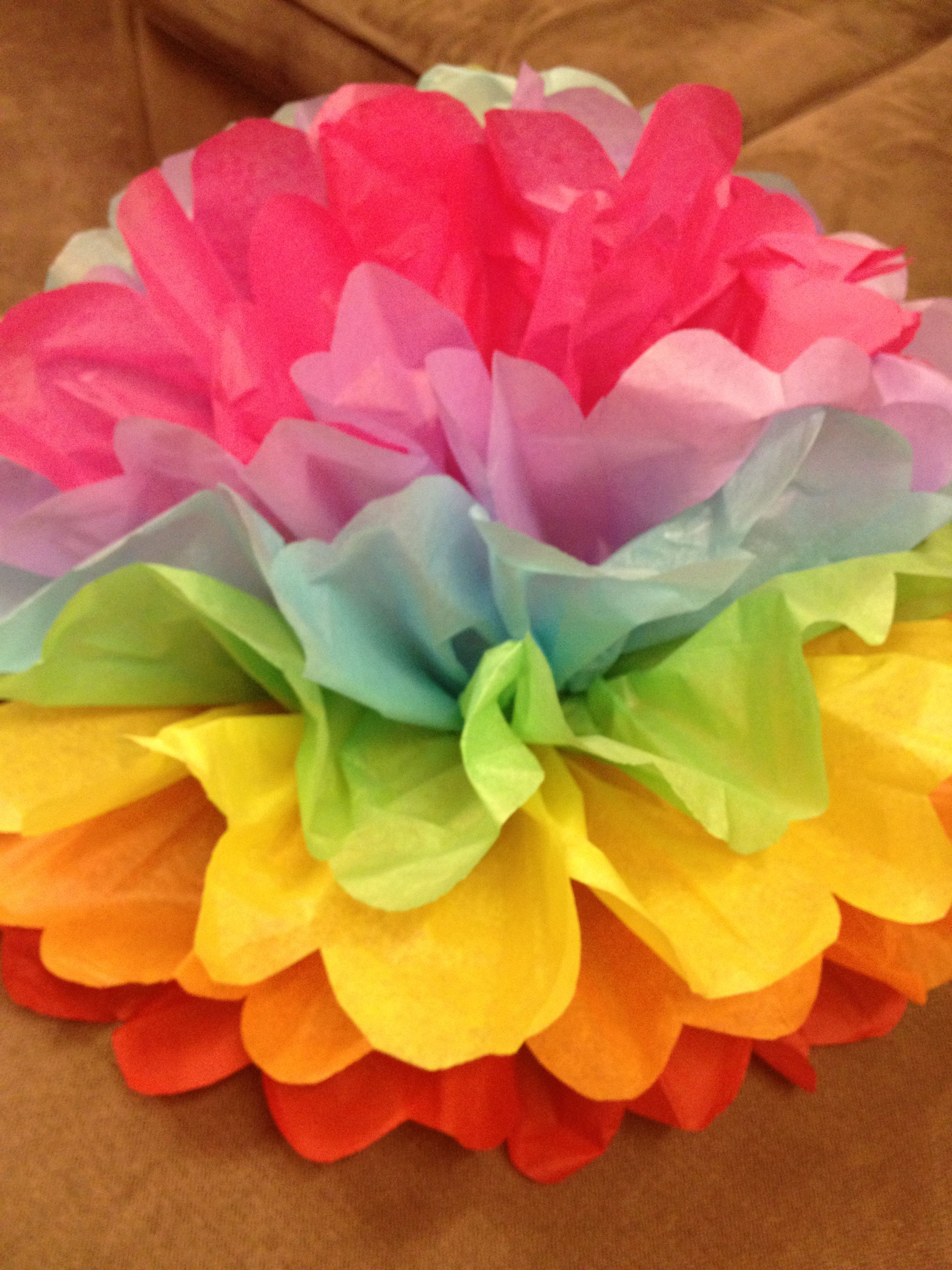 Giant Rainbow Tissue Paper Flower Lorries Party Paper Flowers