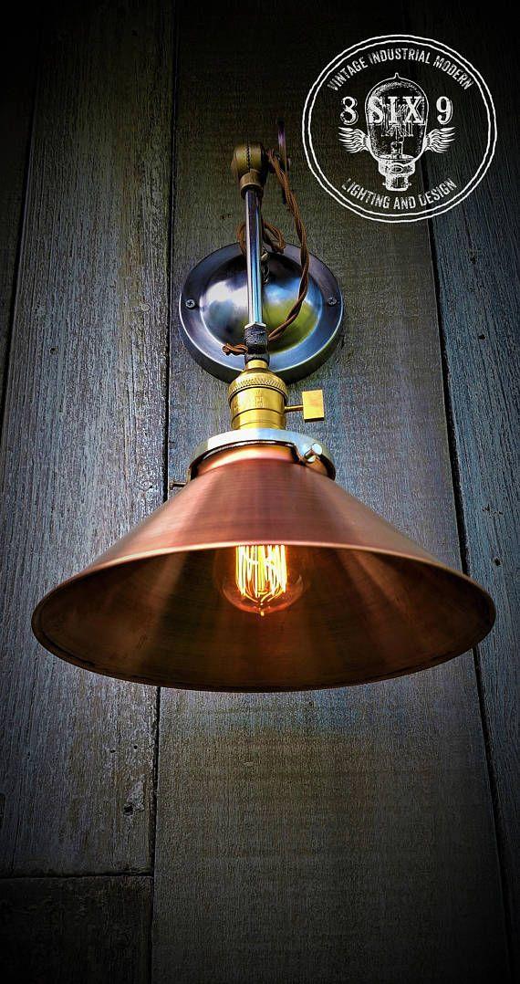 industrial steampunk copper shaded wall