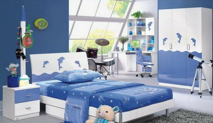 kinderzimmer einrichten weiß blaue dekoration im zimmer delfine ... | {Kinderzimmer junge einrichten 18}