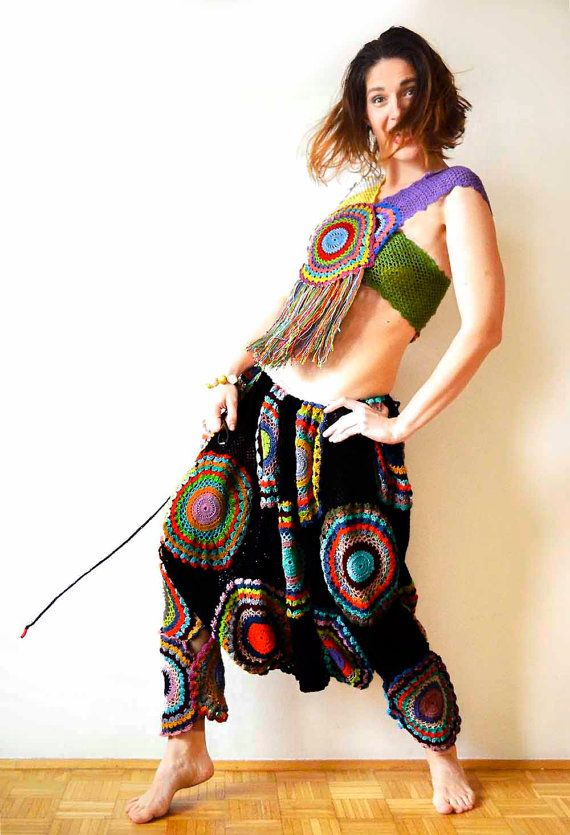 Funky Crochet Harem Pants and Top by subrosa123 on Etsy