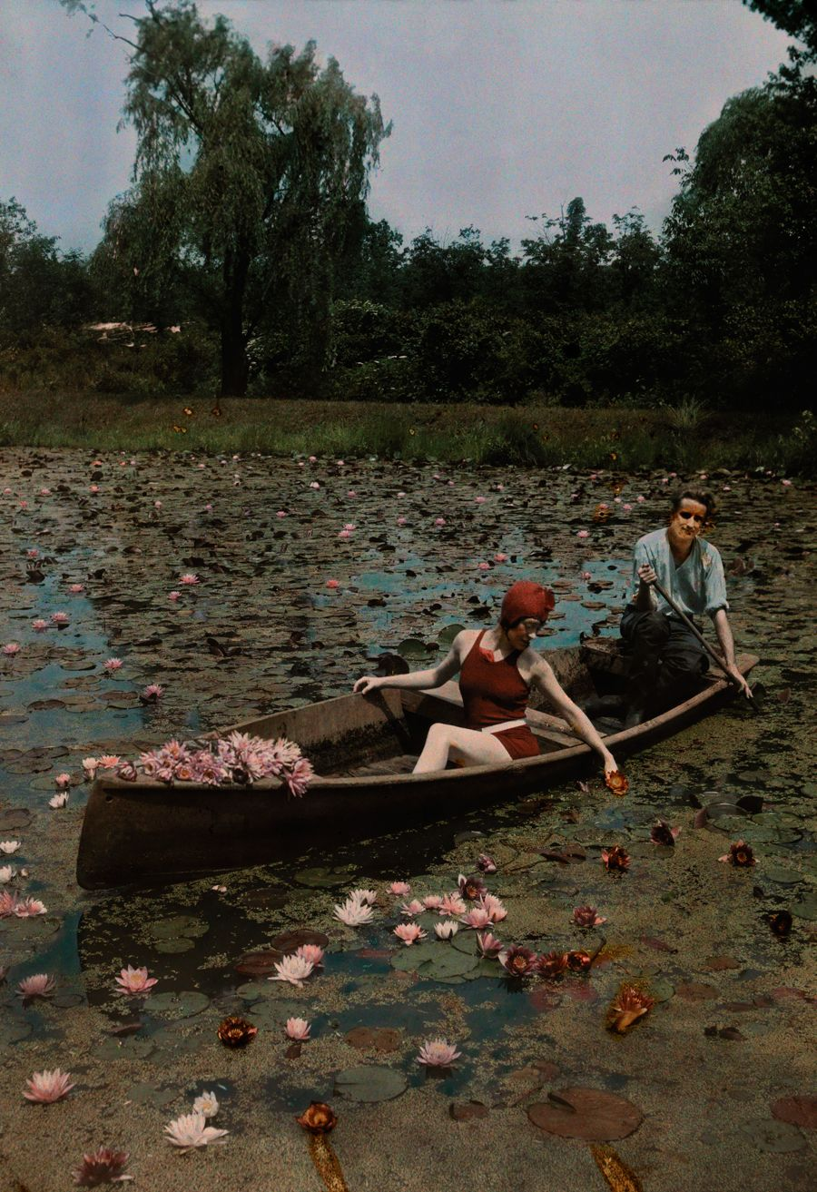 A couple in a boat paddle on a lily pond and collect flowers in the ...