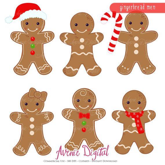Gingerbread Man Clipart Scrapbook Printables Holiday Clip Art Set For Commercial Use Gingerbread Cookies Vectors Graphics Gingerbread Man Gingerbread Man Drawing Gingerbread Man Crafts