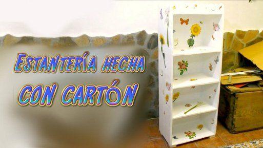 Tutorial mueble estanter a hecha de cart n manualidades - Mueble de reciclaje ...