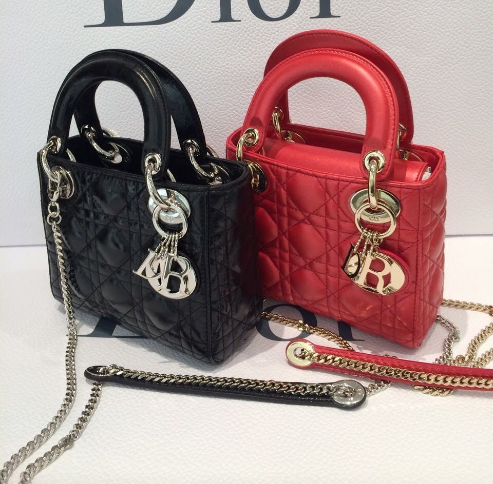 Dior Black Red Lady Dior with Chain Mini Bags  6accae0f2ab01