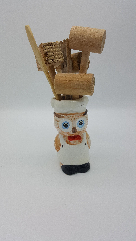 vintage owl utensil holder with wood utensils farmhouse kitchen vintage wood kitchen utensils on farmhouse kitchen utensils id=73260